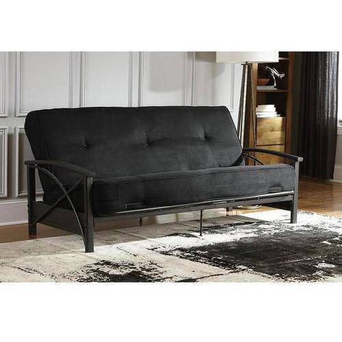 """DHP Nadine Metal Wood Arm Futon with 8"""" Independently Encased Coil Mattress, Multiple Colors"""