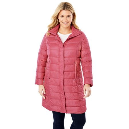a255abe135c Woman Within - Plus Size Long Packable Puffer Jacket - Walmart.com