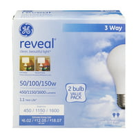 GE Halogen 50/100/150W Reveal 3 Way, General Purpose, Dimmable, Medium Base, 2pk Light Bulbs