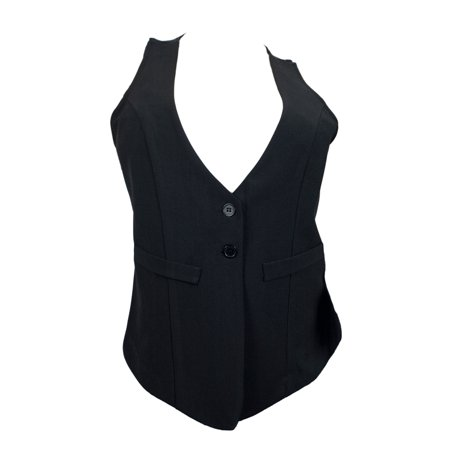 eVogues Plus Size Black Button Front Sleeveless Vest Top