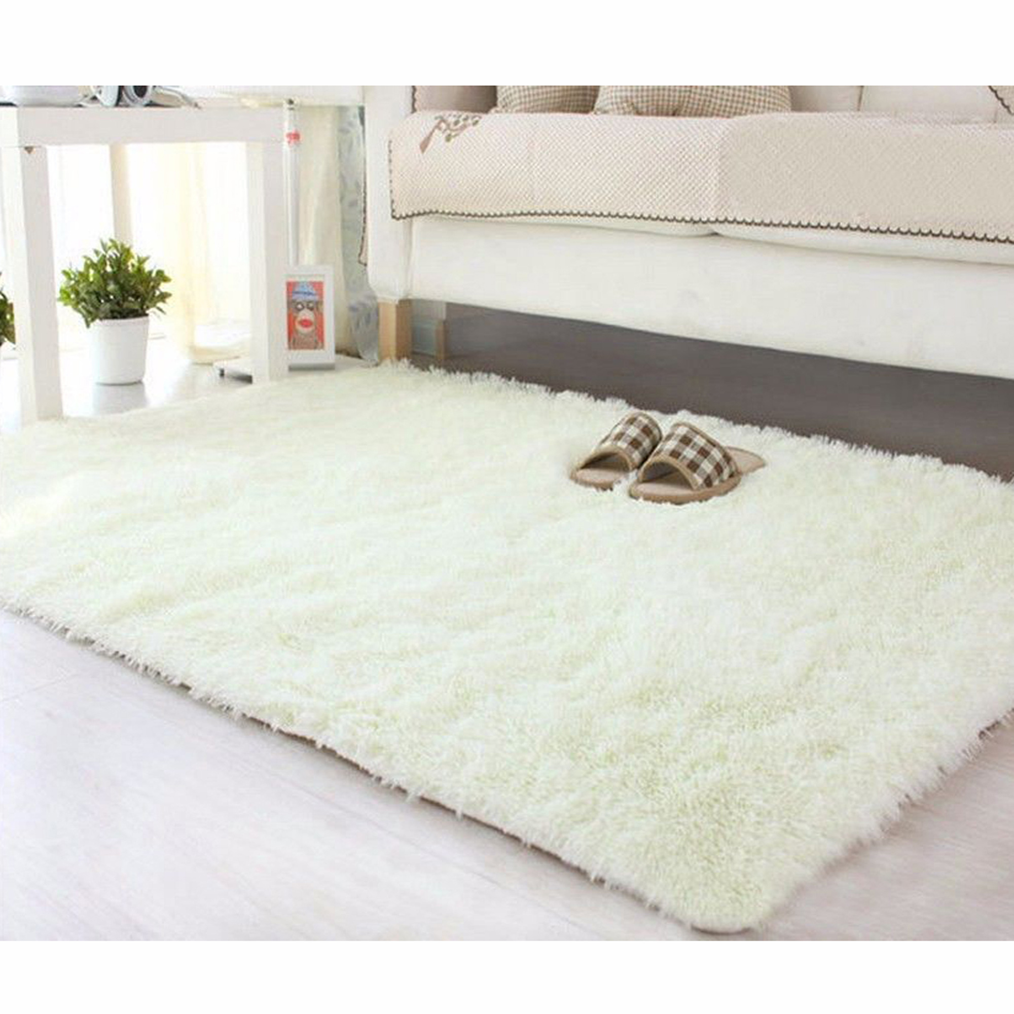 NK HOME 16''x24'' Ultra Soft Rectangular Area Rug Fluffy Carpet Fashion Color Fluffy Rugs Anti-slip Nursery Rug for Bedroom Girls Room Home Decoration Grey Pink Blue