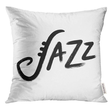 USART Abstract Jazz Hand Lettering Ink Brush Calligraphy Rough Handwritten Sign with Saxophone Symbol Artistic Pillow Case 18x18 Inches Pillowcase