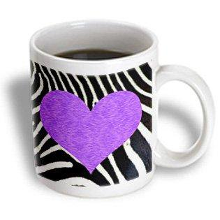 3dRose Punk Rockabilly Zebra Animal Stripe Purple Heart Print, Ceramic Mug, - Purple Zebra Print