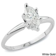Auriya  1ct TDW Marquise Solitaire Diamond Engagement Ring 14k Gold