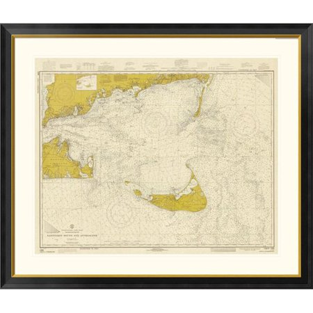 Global Gallery Nautical Chart - Nantucket Sound and Approaches ca. 1973 - Sepia Tinted Framed Graphic Art
