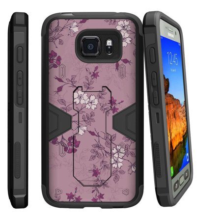 Samsung Galaxy [ S7-ACTIVE model] G891A Dual Layer Shock Resistant MAX DEFENSE Heavy Duty Case with Built In Kickstand - Small Purple Flower