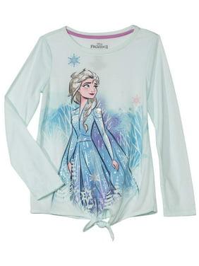 Disney Frozen 2 Side Tie Long Sleeve Graphic T-Shirt (Little Girls & Big Girls)
