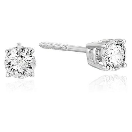 1.25 Ct Certified Diamond - 3/4 CT Certified Diamond Stud Earrings 14K White Gold (I1-I2 Clarity)