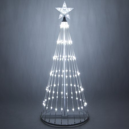 Wintergreen Lighting 4 Cool White Outdoor Christmas Light Show Cone Tree 14 Function Led Decoration