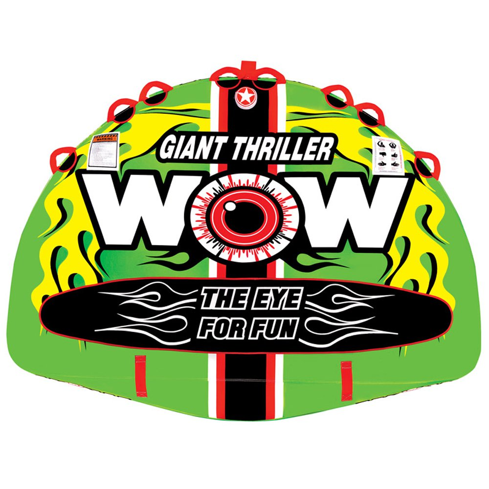 WOW Watersports 11-1090 4 Person Giant Thriller Towable Tube w/ Handles, Green