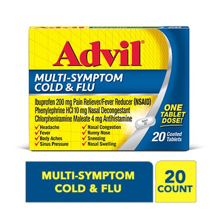 Advil Multi-Symptom Cold & Flu, Pain & Fever Reducer (20