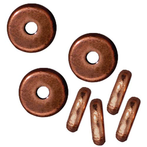 Copper Plated Lead-Free Pewter Disk Heishi Spacer Beads 6mm (10)
