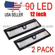 2 Pack 90 LED solar wall light motion sensor landscape Garden walkway IP66