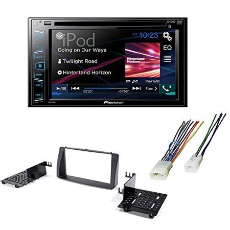 Stereo Install Dash Mount - Double Din DVD/ CD Bluetooth Car Stereo Radio Receiver Dash Mounting Install Kit + Harness for Toyota Corolla 2003 - 2008