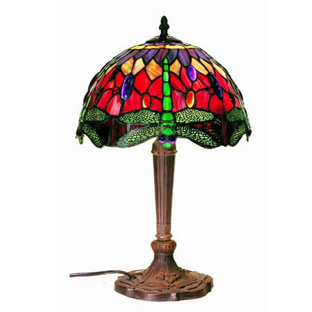 Tiffany-style Purple/Red Dragonfly Lamp ()
