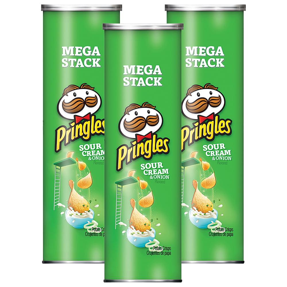 (3 Pack) Pringles Potato Crisps Chips Mega Stack, Sour Cream & Onion, 7.1 Oz