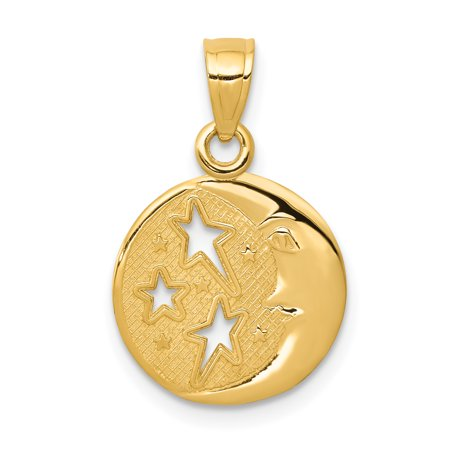 14k Yellow Gold Polished Man In The Moon With Three Stars Pendant 17x10mm