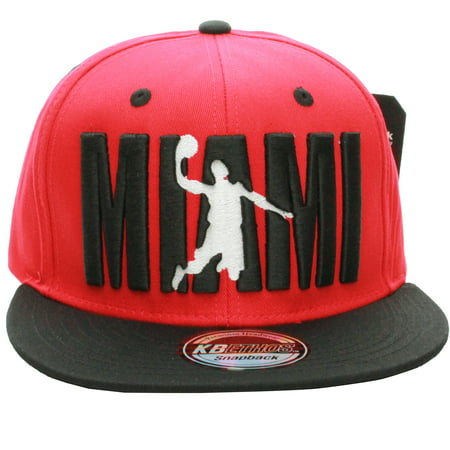 - American Cities Miami Flat Visor Bill Ball Player Logo Snapback Hat Cap