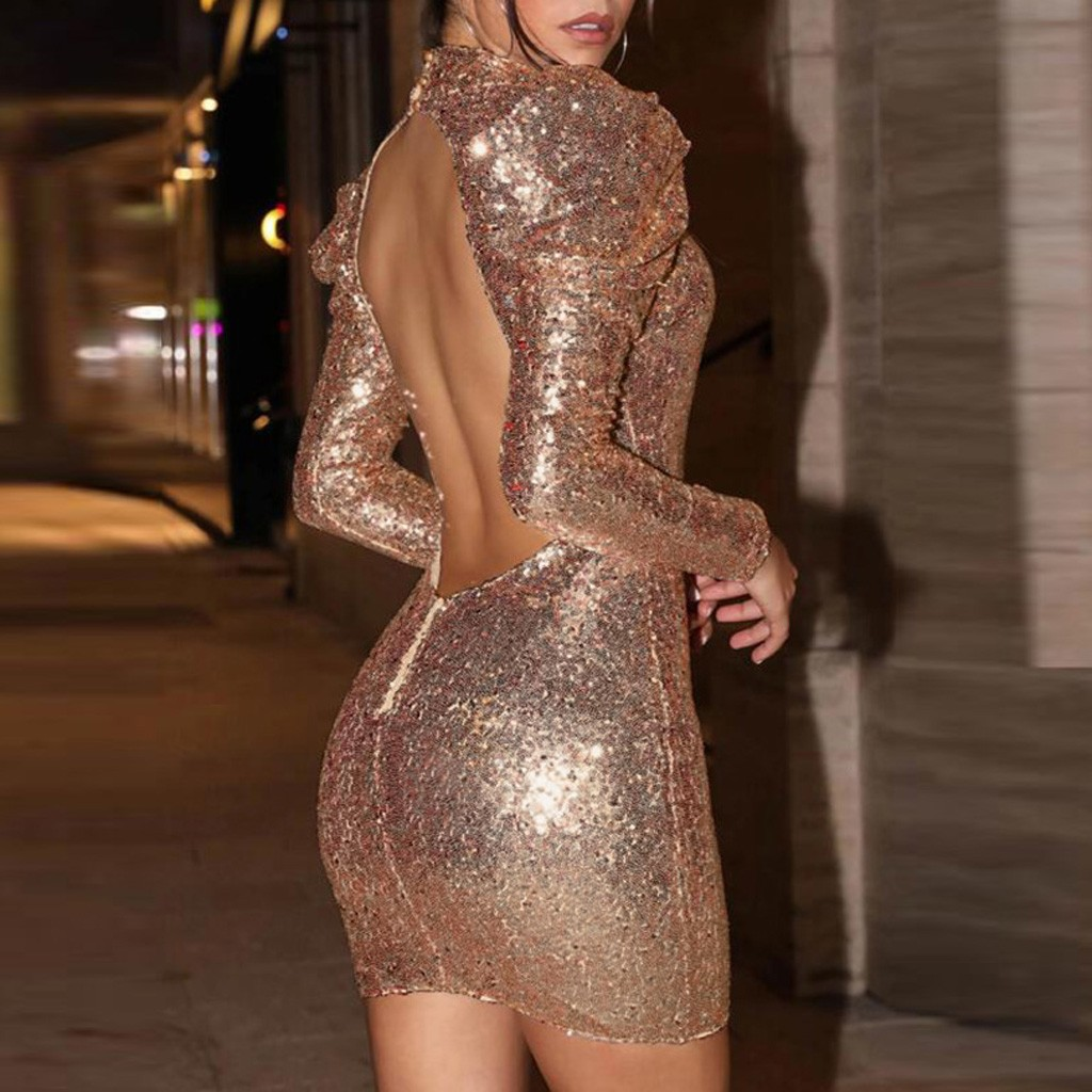 Women Fashion Solid Sequin Mini Dress Long Sleeve Hollow Backless Party Dress
