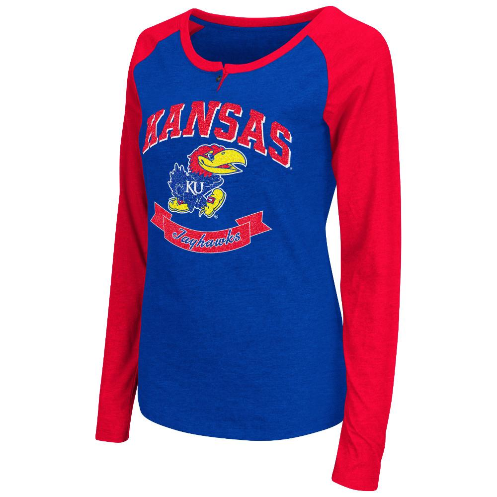 Womens NCAA Kansas Jayhawks Long Sleeve Raglan Tee Shirt (Team Color) by Colosseum