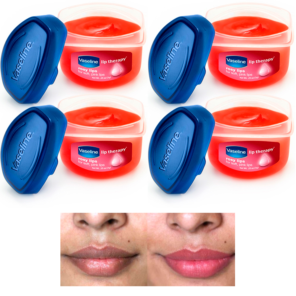 4 Vaseline Therapy Lip Balm Glowing 0.25 Oz Rosy Flavor Petroleum Jelly Mini Jar