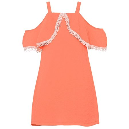 Rare Editions Girls Peach Cold Shoulder Lace Trimmed Overlay Dress (Princess Peach Dress Up)