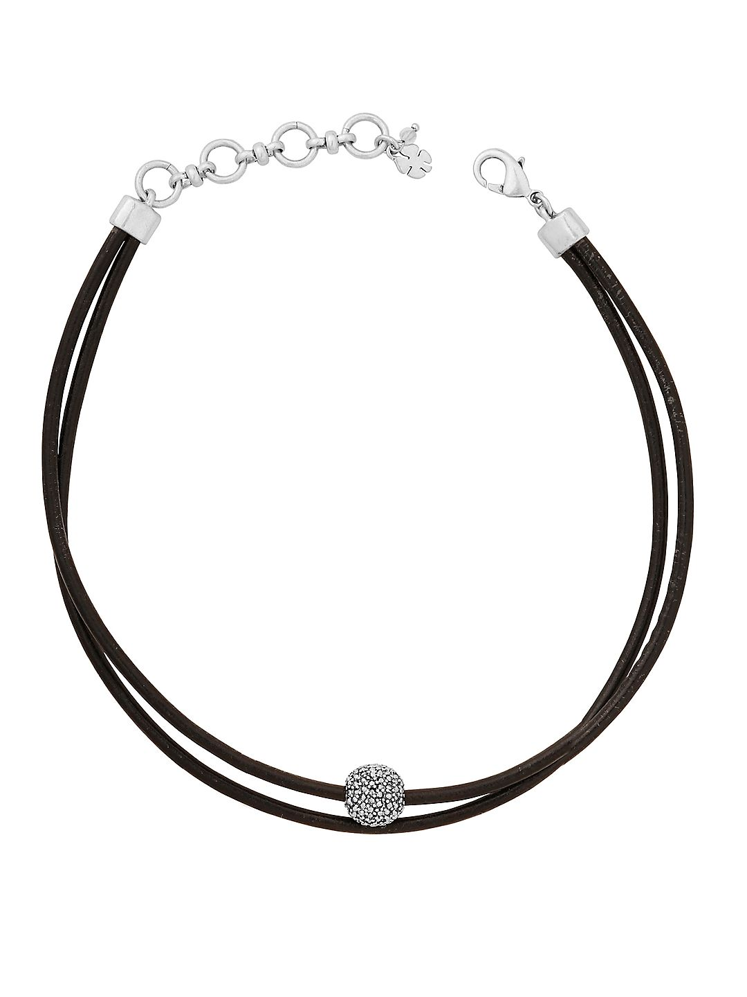 Rock Crystal and Leather Silvertone Choker Necklace