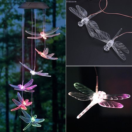 Dragonfly Wind Chimes (iMeshbean LED Color-Changing Power Solar Wind Chimes Yard Home Garden)