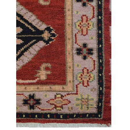 Hanro Woolen Silk - Rugsotic Carpets Hand Knotted Afghan Wool And Silk 2'6''x10' Oriental Runner Area Rug Kazak Red Beige AF0103
