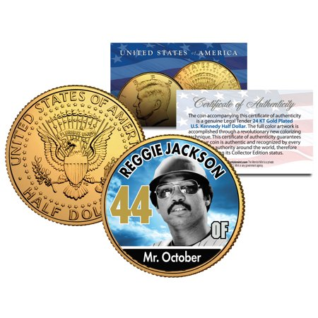 REGGIE JACKSON ** Baseball Legends ** JFK Half Dollar 24K Gold Plated U.S. Coin