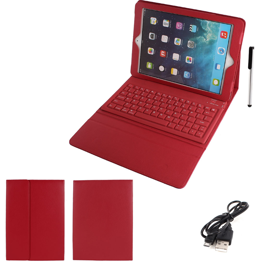 Unique Bargains Red PU Leather bluetooth Wireless Keyboar...