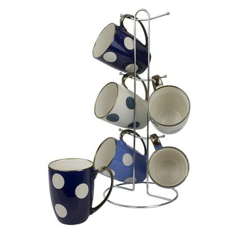 Home Basics 6-piece Polka Dot Mug Set with Stand, White