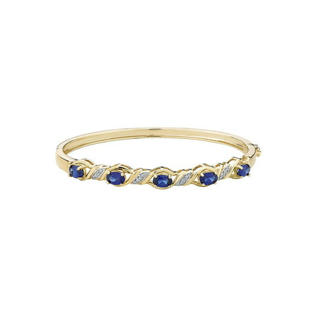 Created Blue Sapphire Bangle with Diamonds in Sterling Silver with 14K Yellow Gold -