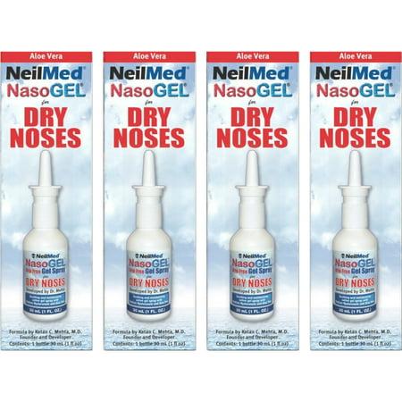 - 4 Pack - NeilMed NasoGEL For Dry Noses, Drip Free Gel Spray 1  fl oz Bottle Each