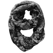 Peach Couture Beautiful Graphic Sunflower Lightweight Paisley Print Infinity Loop Scarf Black
