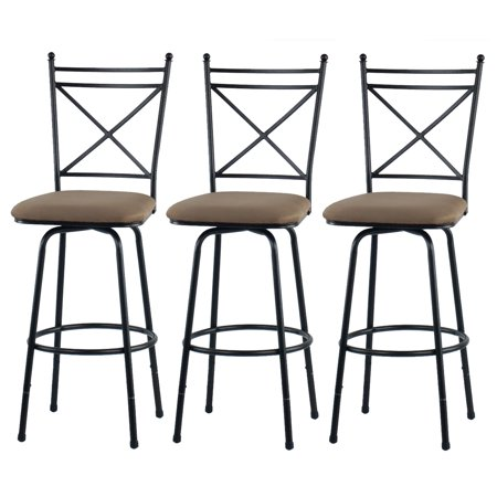 Metal Antique Bar Stools - Mainstays Adjustable Metal Swivel Barstools, Antique Brass, Set of 3