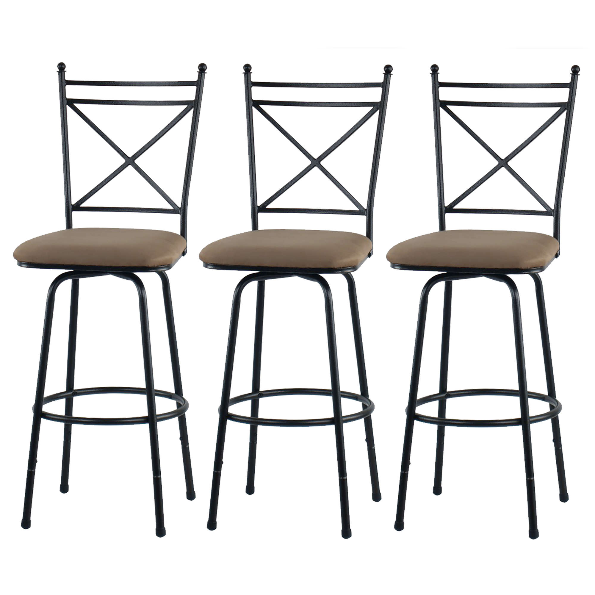 Mainstays Adjustable Metal Swivel Barstools, Antique Brass, Set of 3
