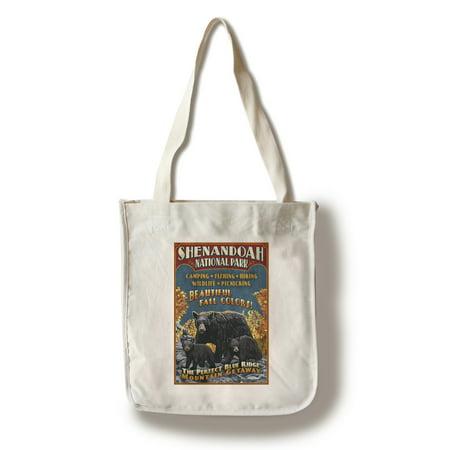 Shenandoah National Park  Virginia   Bear   Cubs Vintage Sign   Lantern Press Artwork  100  Cotton Tote Bag   Reusable