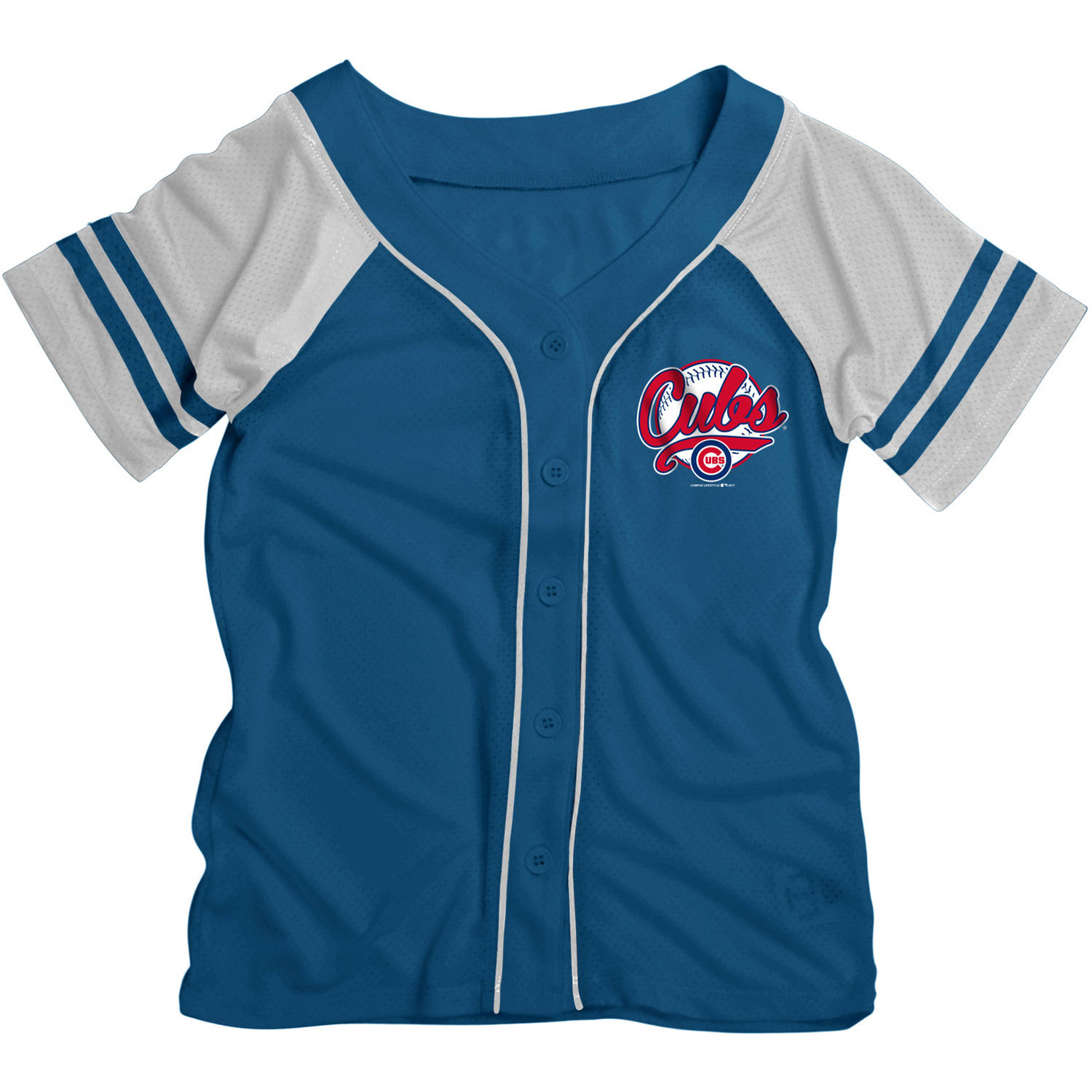 MLB Chicago Cubs Girls Short Sleeve Button Down Mesh Jersey