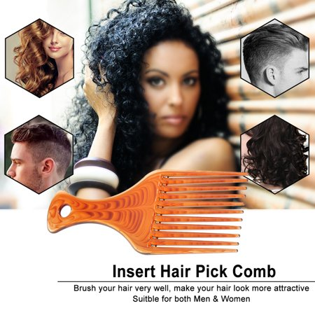 Plastic Hair Comb Insert Afro Hair Pick Comb Hair Fork Comb Hairdressing Styling Tool for Man & Woman - Afro With Pick