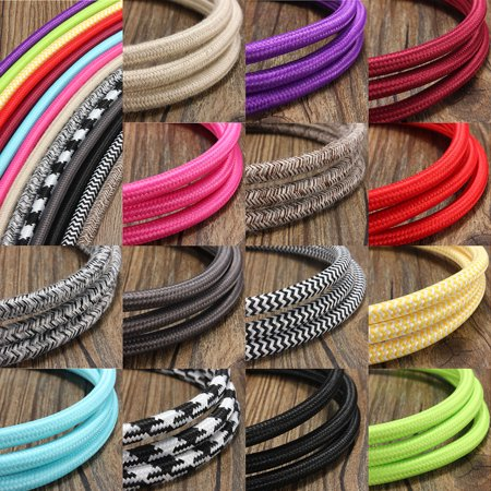 - 1M 3 Core Retro Vintage Color Twist Braided Fabric Cable Wire Electric Light Lamp for Home Decor,Cafe Decor,Restaurant Decor DIY Lighting