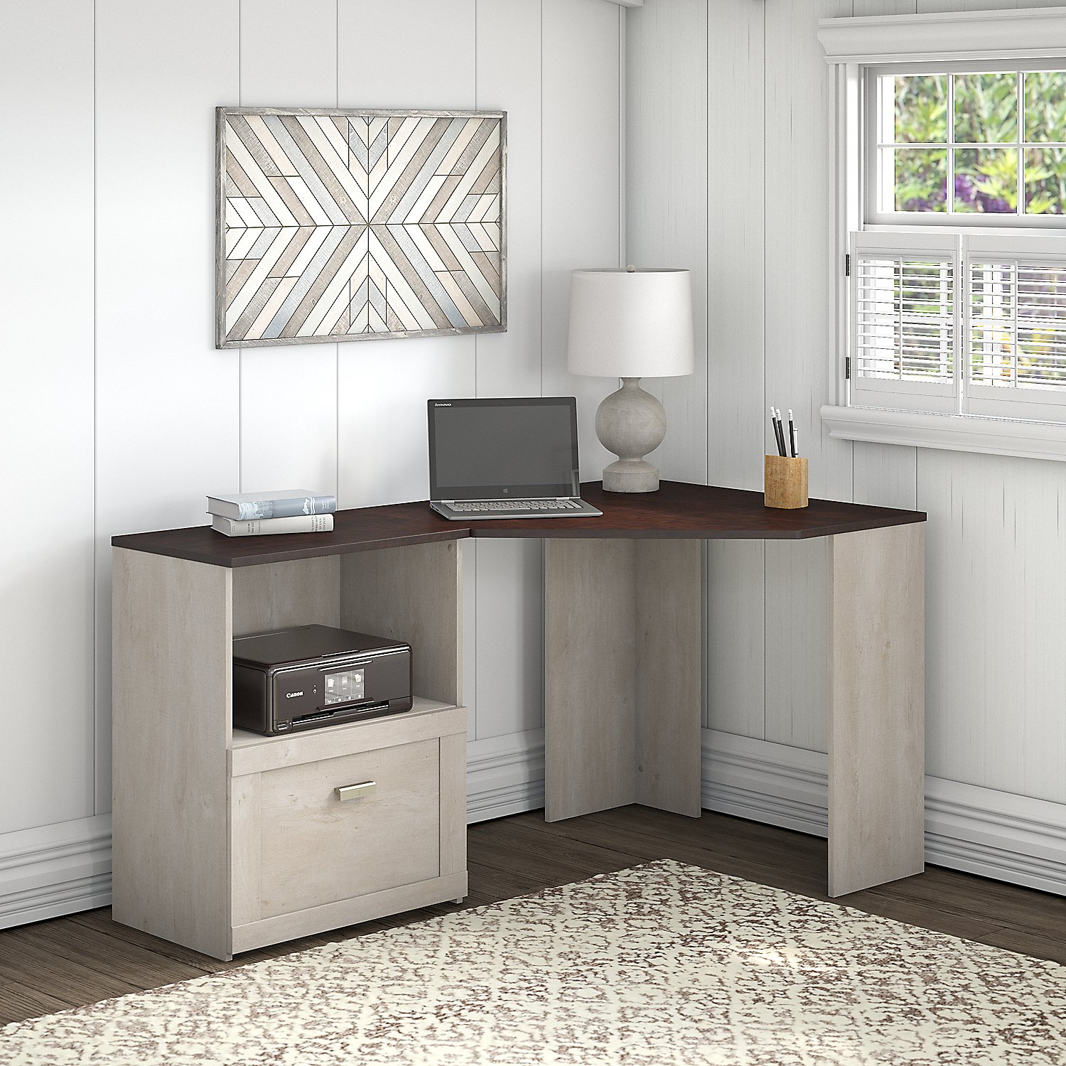Bush Furniture Townhill Corner Desk with File Cabinet in Washed Gray and Madison Cherry