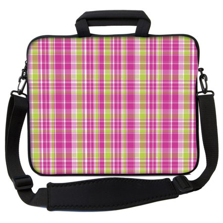 f78a17da048f Designer Sleeves 15.6' Neoprene Laptop Bag Case with Handles Shoulder  Strap, Pink & Green Plaid (15GS2PE-PGP)