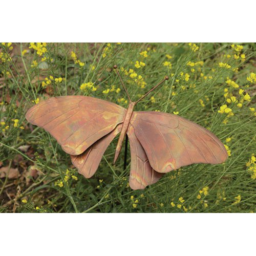 Ancient Graffiti Torched Copper Butterfly Garden Stake