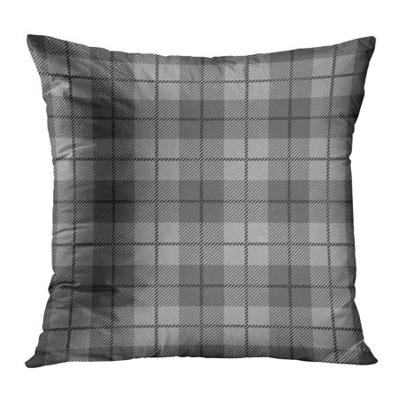 ECCOT Gray Plaid Tartan Patterns in Black and White Colors British Celtic Check Flannel Geometric PillowCase Pillow Cover 16x16 inch Black White Plaid Check Flannel