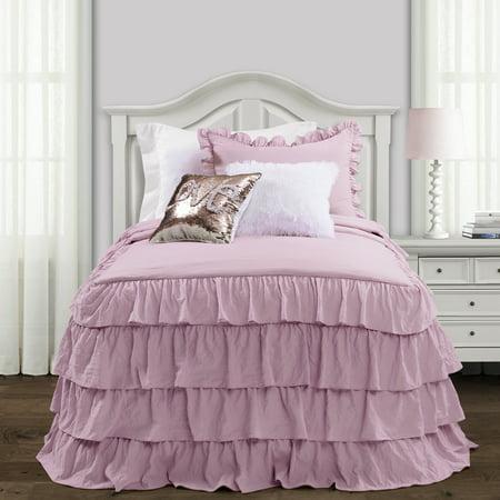 2pc Twin/Twin XL Allison Ruffle Skirt Bedspread Set Lavender - Lush Décor