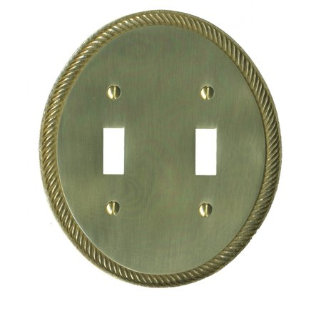 Solid Brass Switchplate Double Toggle Oval Braided | Renovators -