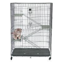 Zimtown Large Folding Collapsible Pet Cat Wire Cage w/ Tray Outdoor Carriers Playpen