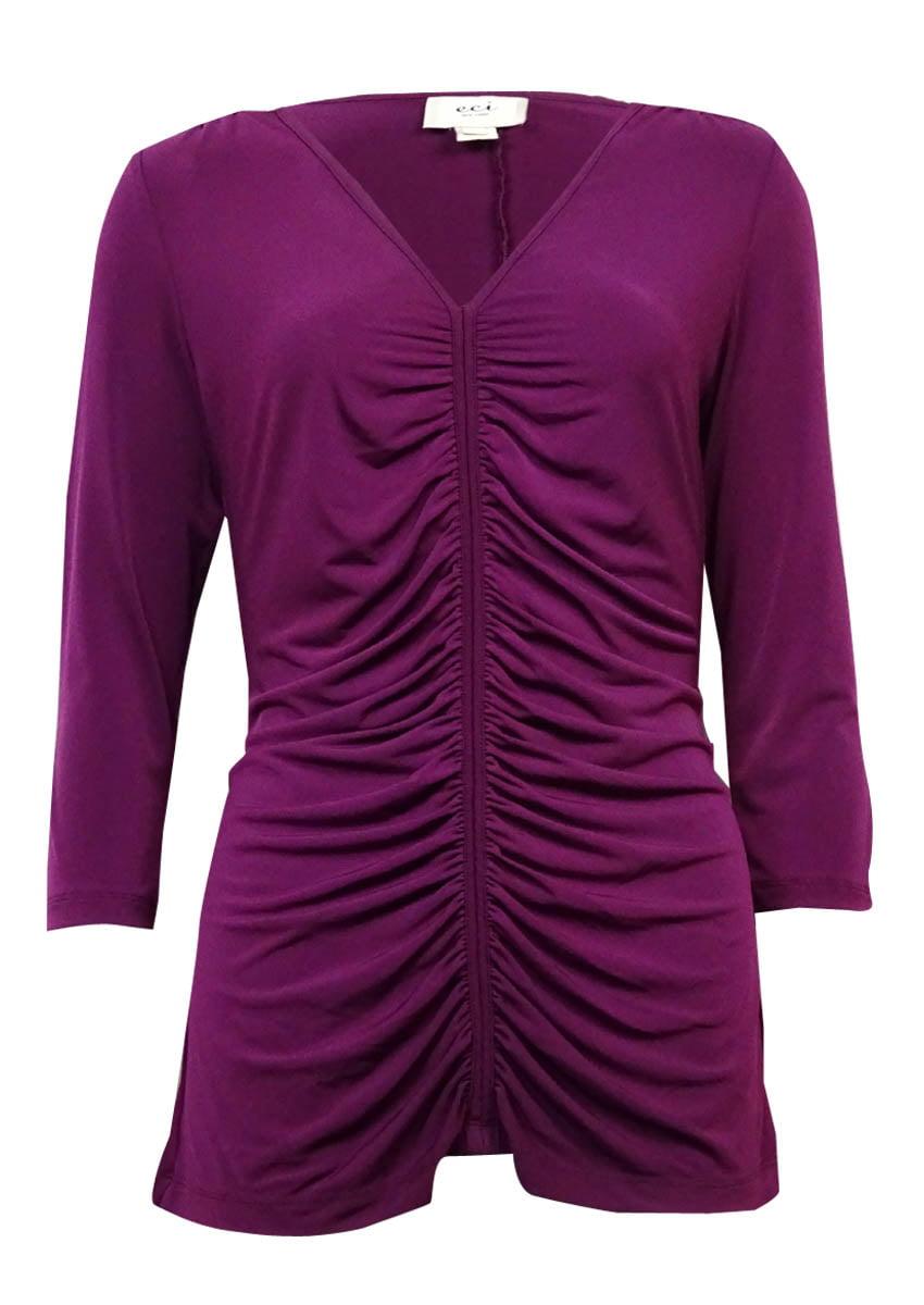 ECI Women's V-Neck Solid Ruched Jersey Top (XL, Dark Purple)