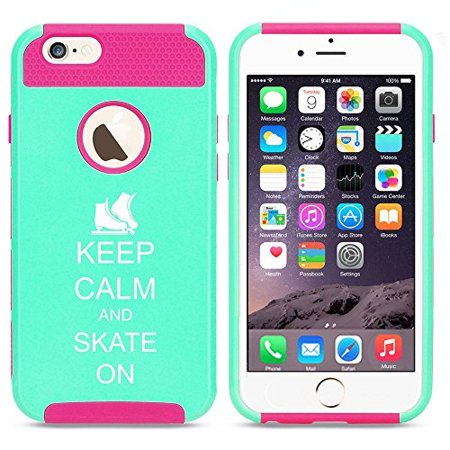 Apple iPhone SE Shockproof Impact Hard Soft Case Cover Keep Calm and Skate On Ice Skates (Light Blue-Hot Pink),MIP